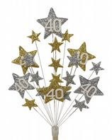 Star age 40th birthday cake topper decoration in silver and gold - free postage